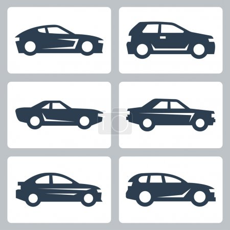 Cars icons set, side view