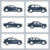 Cars icons set side view