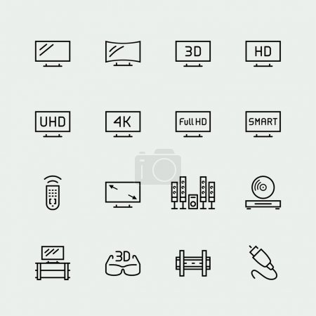 Illustration for TV related vector icon set, thin line style - Royalty Free Image