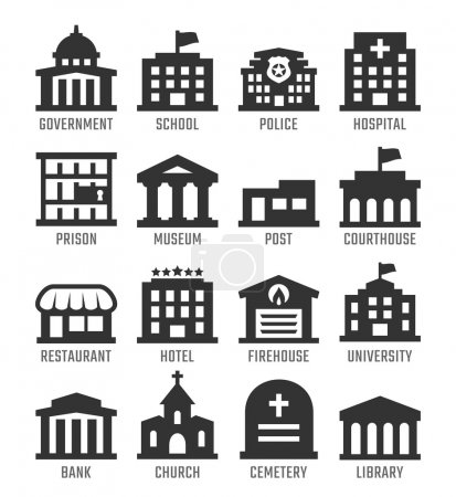 Illustration for Government buildings vector icon set - Royalty Free Image