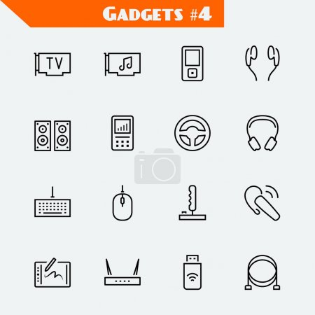 Computer devices and gadgets icon set: TV tuner, a...