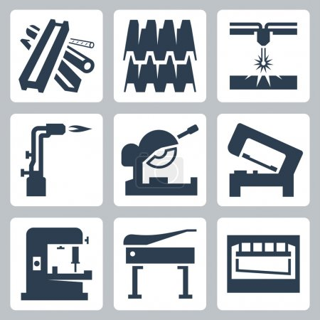 Illustration for Metal cutting and metal products icon set - Royalty Free Image