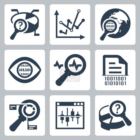 Illustration for Vector data analysis icon set - Royalty Free Image