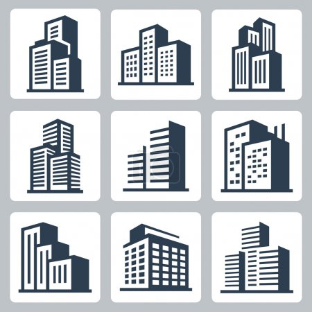 Illustration for Vector city buildings icon set - Royalty Free Image