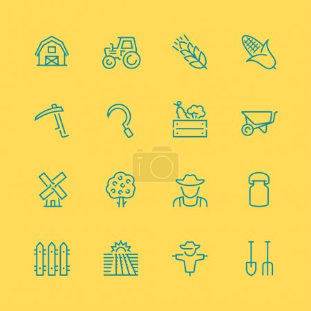 Illustration for Vector farm related vector icon set, thin line style - Royalty Free Image