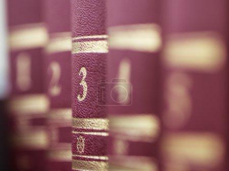 Photo pour Des livres rangés sur une étagère. Profondeur de champ faible - image libre de droit