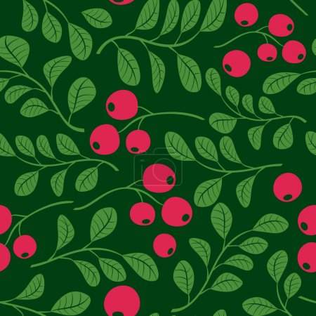 Seamless dark green pattern with berries - vector