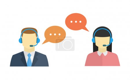 Illustration pour Icônes avatar du centre d'appels masculin et féminin avec un homme et une femme sans visage conceptuel des services à la clientèle et de la communication - image libre de droit
