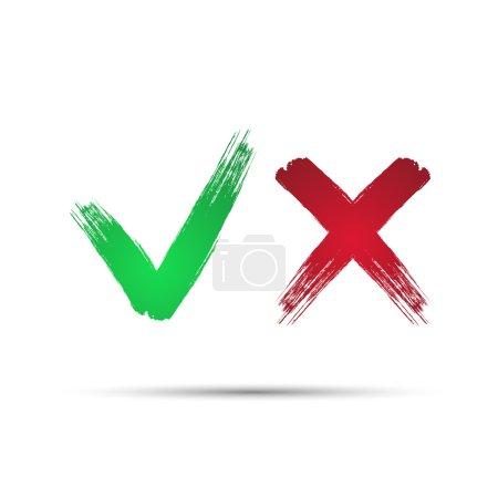 Illustration pour Oui et Non coches, icône, vecteur de symbole - image libre de droit