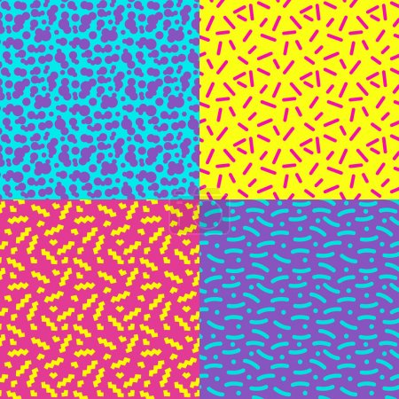 Illustration for Set of seamless abstract geometric pattern in retro memphis style, fashion 80-90s. It can be used in printing, website backdrop and fabric design. - Royalty Free Image