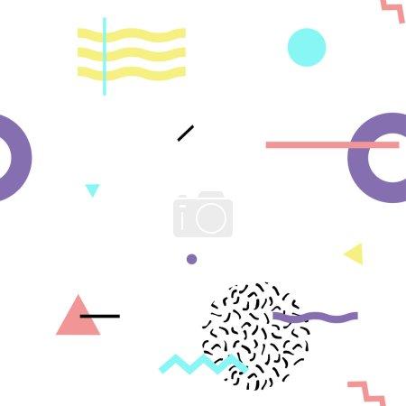 Ilustración de Modelo geométrico abstracto sin costuras en estilo retro memphis, moda 80-90. Se puede utilizar en impresión, fondo del sitio web y diseño de tejidos.. - Imagen libre de derechos