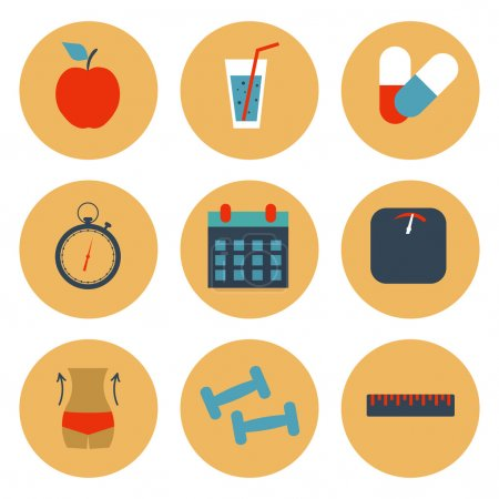 Fitness and health, slimming set of icons. Vector illustration