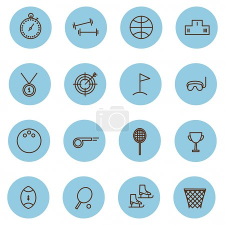 vector line set sports game icons