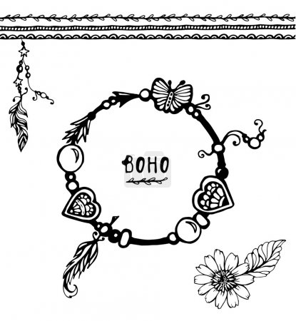 Set of Boho Style Frames and hand drawn elements