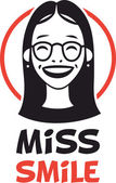 Picture Miss smiling girl with glasses portrait logo