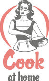 cook at home girl in an apron holding bowl circle logo