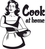cook at home girl in an apron holding bowl logo