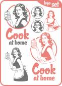 cook at home girl with a piece of cake circle logo big set