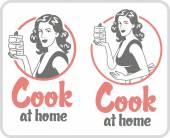 Picture cook at home girl with a piece of cake circle logo set pink