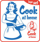 cook at home pin-up girl in an apron holding bowl circle logo set