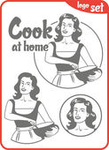 Picture cook at home pin-up girl in an apron holding bowl logo set