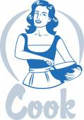 cook woman in an apron holding a bowl blue circle logo