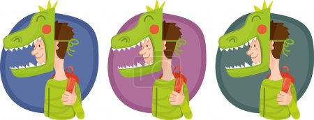 Child in a mask dinosaur set