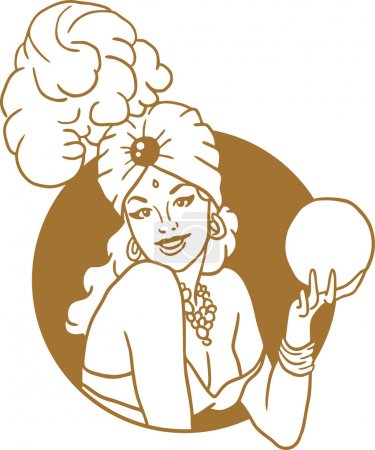 Illustration for Pin-up girl with a magic ball portrait of a golden circle retro emblem - Royalty Free Image