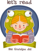 Image girl dressed as a frog diligently reading a book