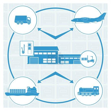 Illustration pour Logistique. Illustration vectorielle. SPE 10. Opacité - image libre de droit