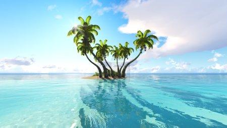 Corals Island Sea 3D rendering
