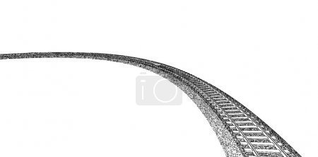 Railroad track silhouettes. Railway tracks cartoon