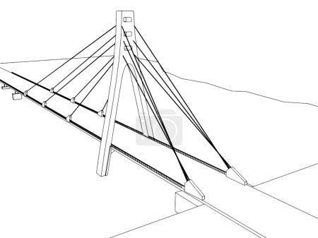 illustration of isolated cartoon bridge on white