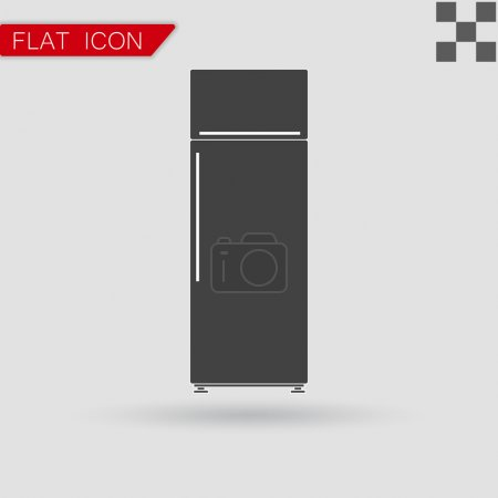 Black refrigerator vector Flat Style with red