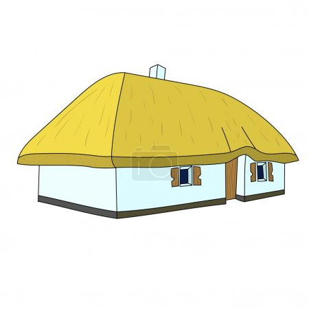 An illustration of a thatched country cottage