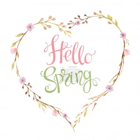 Photo for Hand drawn lettering Hello Spring in the shape of a heart of flowers, branches and leaves. Watercolor illustration. Design for wedding invitations, greeting cards, cards. - Royalty Free Image
