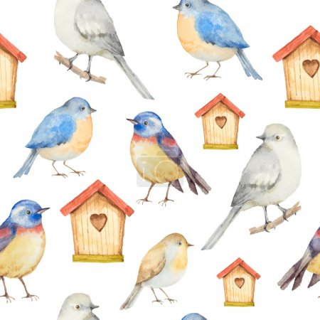 Birds and birdhouses watercolor seamless pattern.