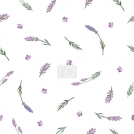 Illustration for Lavender decorative pattern. Seamless pattern for fabric, paper and other printing and web projects.Watercolor background. - Royalty Free Image