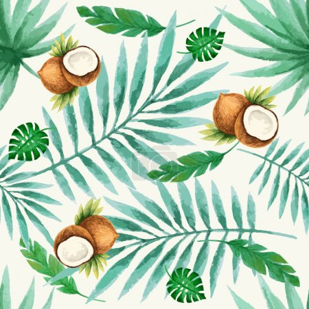 Illustration for Exotic fruits  seamless pattern, watercolor, vector illustration. - Royalty Free Image