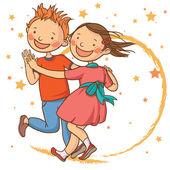 Dancing with the star Two cute dancing children School activities Back to School isolated objects on white background Great illustration for a school books and more vector Education