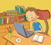 Boy studying in his room library School activities Back to School isolated objects on white background Great illustration for a school books and more vector