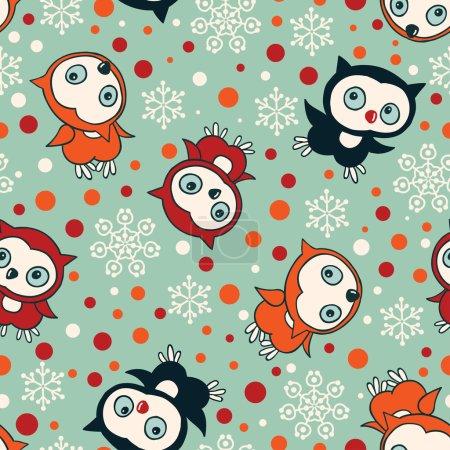 Owls on Turquoise Background