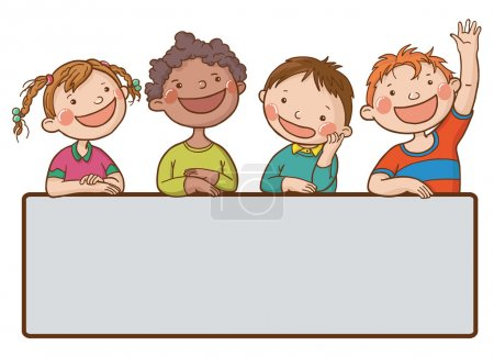 Illustration for Banner of kids peeping behind placard - Royalty Free Image