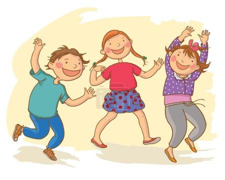 Photo pour Illustration d'enfants mignons marchant ensemble dansant. Illustration des enfants. L'éducation. Excellente illustration pour un livre scolaire et plus encore. VECTEUR . - image libre de droit