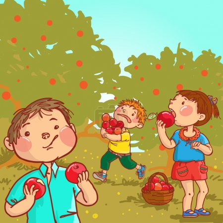 Children harvesting apples.