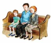 Family on the church pew