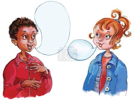 Kids talking togethe