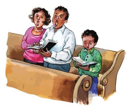 Photo pour Famille afro-américaine qui assiste à la messe de l'église. Illustration pour enfants pour livres scolaires, magazines, publicité et plus encore. Objets séparés. VECTEUR . - image libre de droit