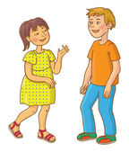 Caucasian Boy and Asian Girl talking together Back to School children illustration Separate Objects on white background Education VECTOR