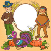 Children in native indian traditional and european clothing on thanksgiving background Isolated object VECTOR This illustration can be great for advertising  invitation and etc